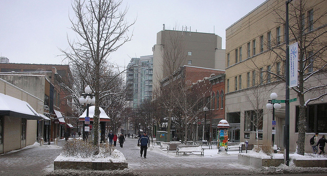 The Pedestrian Mall is located in downtown Iowa City. Bing Images Photo.