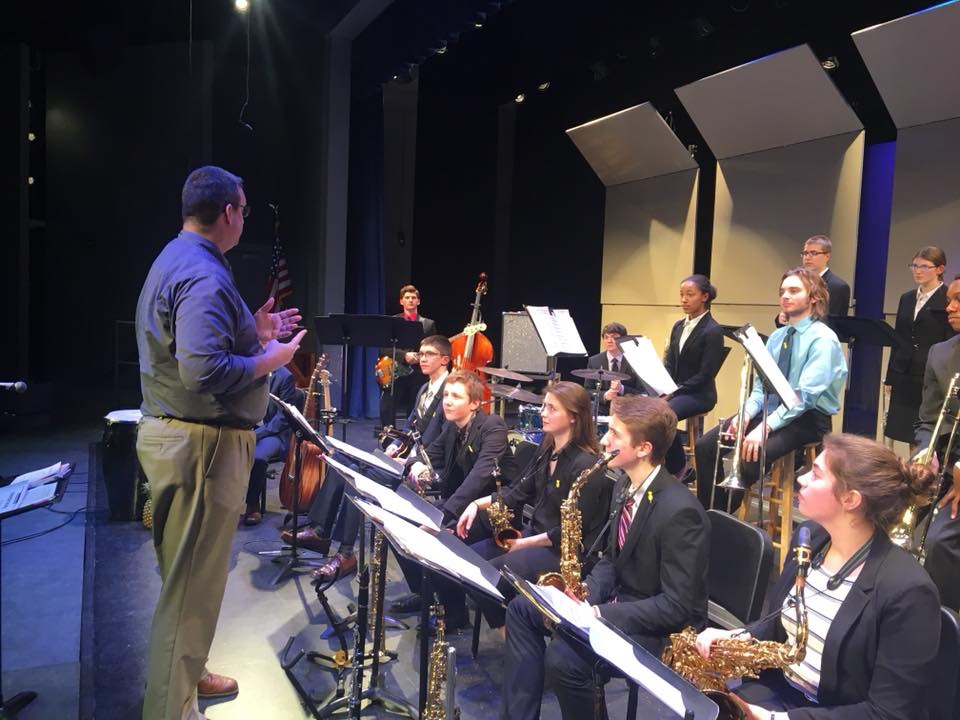Jazz Band One recieves a critique after their performance at the State Jazz Festival. Photo Submitted.