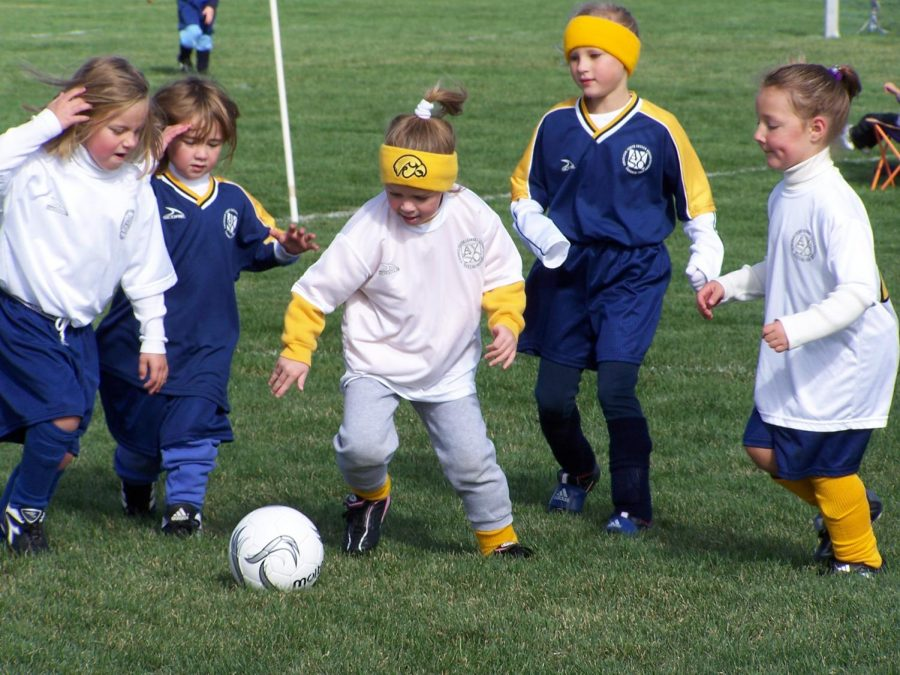 Janessa Klein (Middle) plays soccer as an elementary student for AYSO. Barbara Klein Photo.