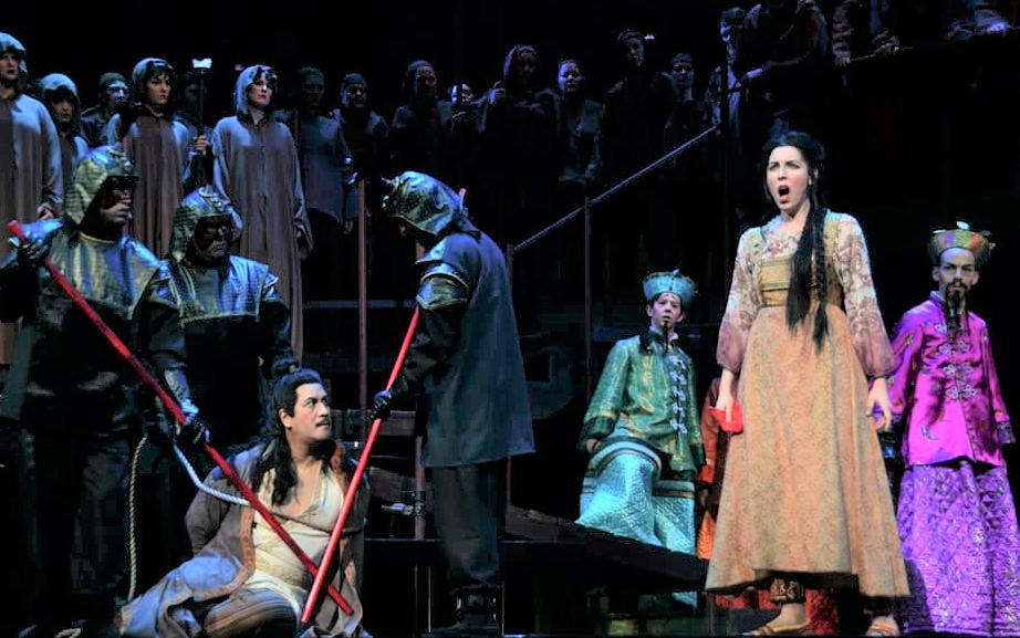 Lowder (front left) performs Turandot with the Cedar Rapids Opera Theater. Photo Submitted.