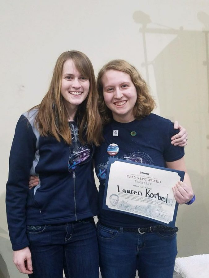 Junior Lauren Korbel poses with Xavier math teacher Mrs. Stacy Mickelson after being chosen as a Dean's List Award Finalist. Photo Submitted.