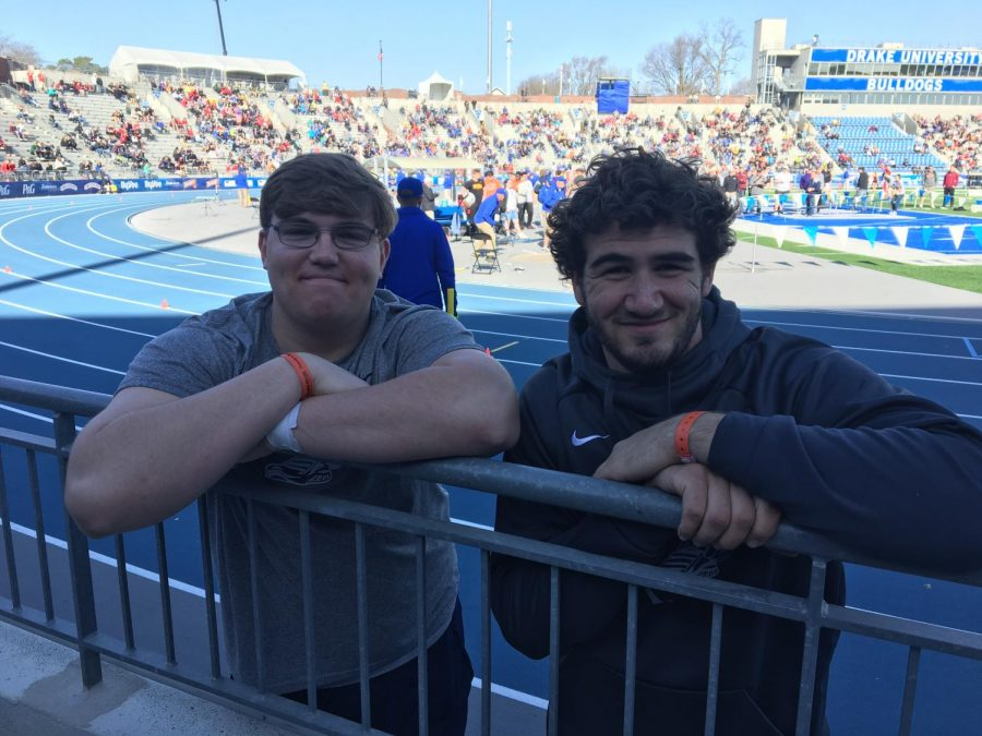 Sophomore Josh Volk and senior Ethan Brown pose for a picture after competing at the Drake Relays. Lori Brown Photo.
